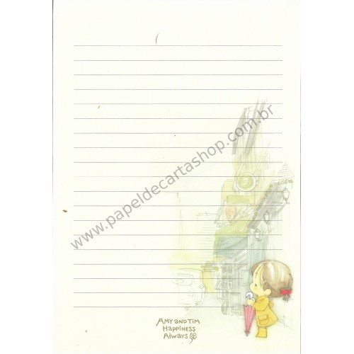 Papel de Carta Avulso Importado AMY & TIM 21
