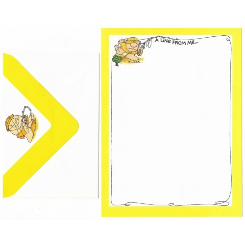 Conjunto de Papel de Carta Antigo Importado Ziggy Yellow