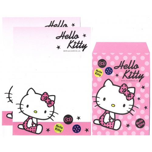 Ano 2012. Conjunto de Mini-Papel de carta Hello Kitty Dots CRS Sanrio