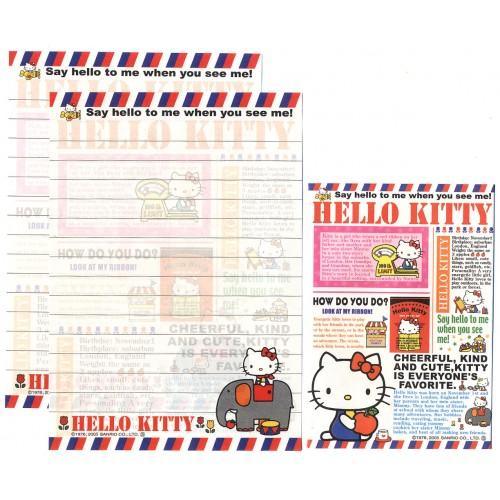 Ano 2005. Conjunto de Papel de Carta Pequeno Hello Kitty Cheerful Sanrio