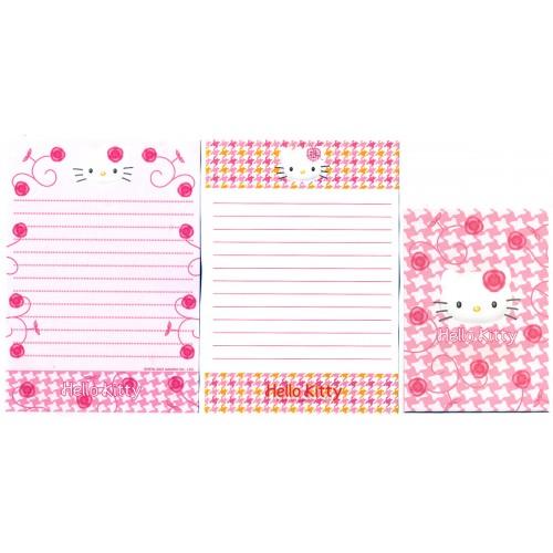 Ano 2001. Conjunto de Papel de Carta Pequeno Hello Kitty Roses CRS Sanrio