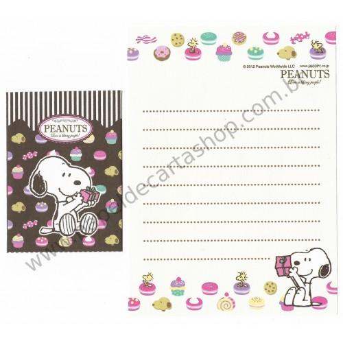 Kit 2 Conjuntos de Mini-Papéis de Carta SNOOPY Cupcakes Peanuts