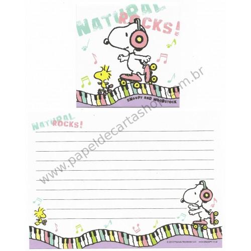 Conjunto de Papel de Carta Pequeno Snoopy Natural Rocks Peanuts