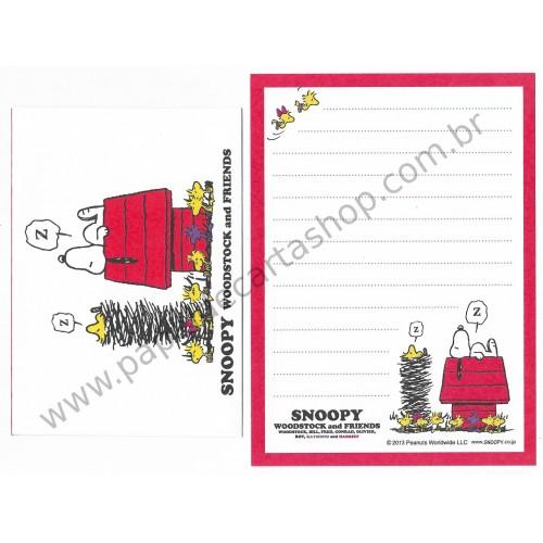 Conjunto de Papel de Carta Pequeno Snoopy Woodstock & Friends CVM Peanuts