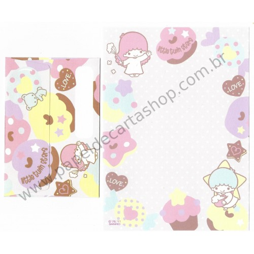 Ano 2011. Conjunto de MINI-Papel de Carta Little Twin Stars Love Sanrio