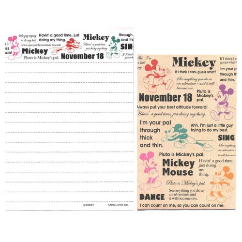 Kit 2 Conjuntos de Mini-Papel de Carta Mickey Mouse Disney