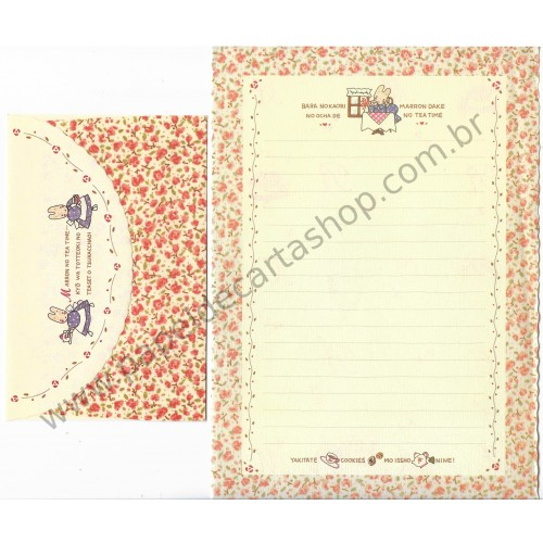 Ano 1988. Conjunto de Papel de Carta Marron Cream Tea Vintage Sanrio