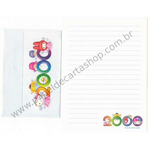 Ano 2000. Conjunto de Papel de Carta Hello Kitty 2000 CBR Sanrio