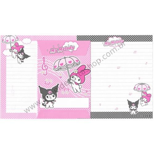 Ano 2005. Conjunto de Papel de Carta My Melody & Kuromi Umbrella Sanrio