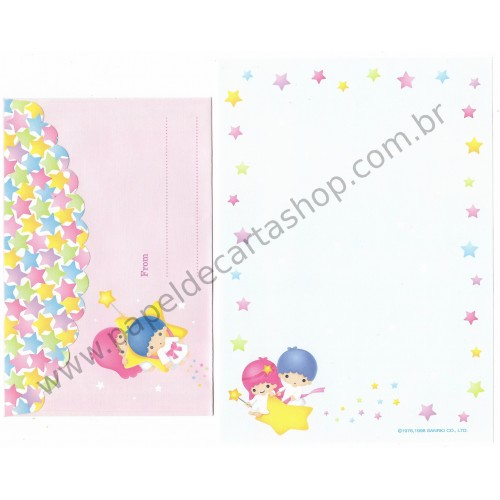 Ano 1998. Conjunto de Papel de Carta Little Twin Stars ST4 Antigo (Vintage) Sanrio
