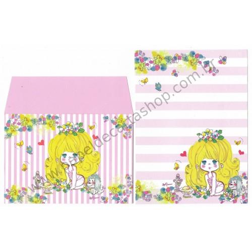 Conjunto de Mini-Papel de Carta com envelope ADO MIZUMORI 0053