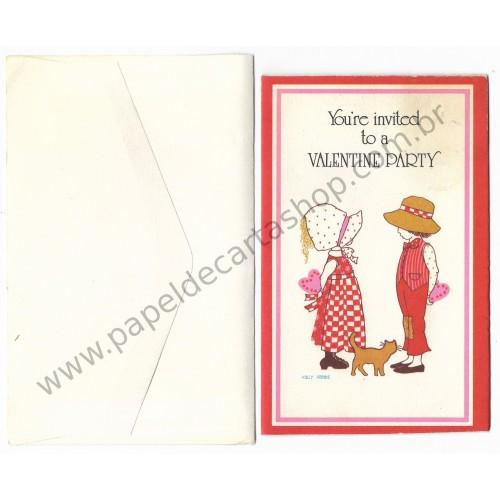 Notecard ANTIGO Holly Hobbie Valentine Party