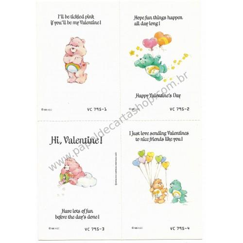Kit 4 Mini-Cartões de Mensagem Valentines Antigo Importado Ursinhos Carinhosos2