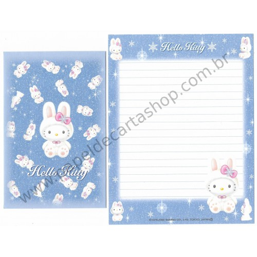Ano 2000. Conjunto de Papel de Carta Hello Kitty Regional Snow Sanrio