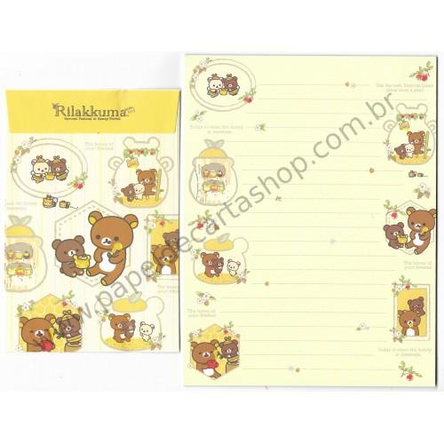 Kit 4 Conjuntos de Papel de Carta Rilakkuma Honey 2017 - San-X