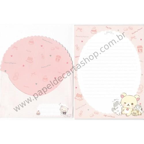 Kit 2 Conjuntos de Papel de Carta Importado Rilakkuma and Cute Cats San-X