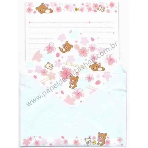 Conjunto de Papel de Carta Importado Rilakkuma Cherry Blossom (CAZ)
