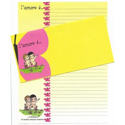 Conjunto de Papel de Carta ANTIGO Importado L'amore é CAM
