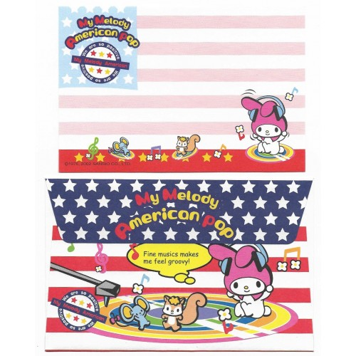 Ano 2002. Conjunto de Papel de Carta P My Melody American Pop Sanrio