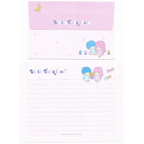 Ano 2003. Conjunto de Papel de Carta Little Twin Stars Bouquet Sanrio