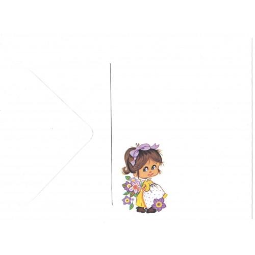 Conjunto de Papel de Carta Antigo Importado Menininha Com Flores