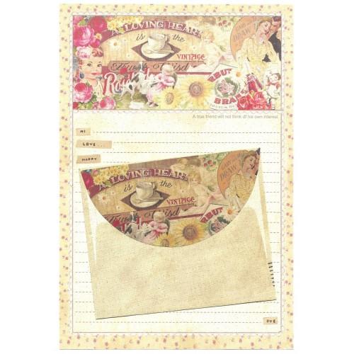 Conjunto de Papel de Carta Importado Vintage Label (CRE)