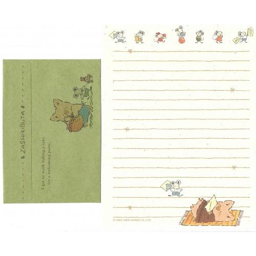 Ano 1989. Conjunto de Papel de Carta Zashikibuta CVD Vintage Sanrio