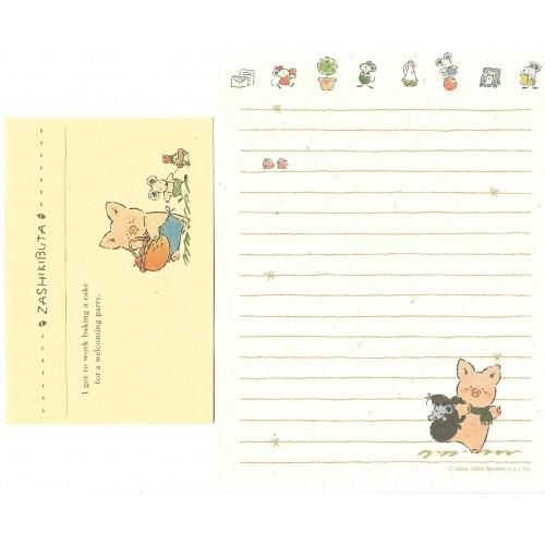Ano 1989. Conjunto de Papel de Carta Zashikibuta CRE Vintage Sanrio