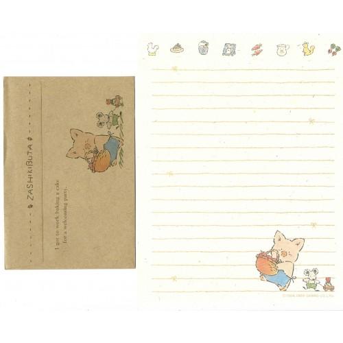 Ano 1989. Conjunto de Papel de Carta Zashikibuta CMA Vintage Sanrio