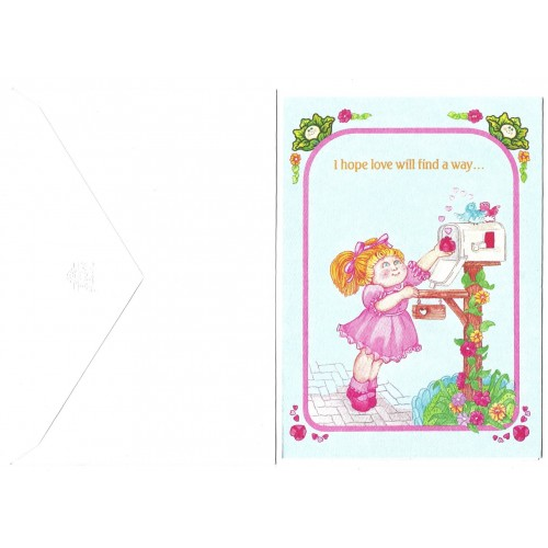 Ano 1983. Notecard Importado Cabbage Patch Kids Love Will Find a Way