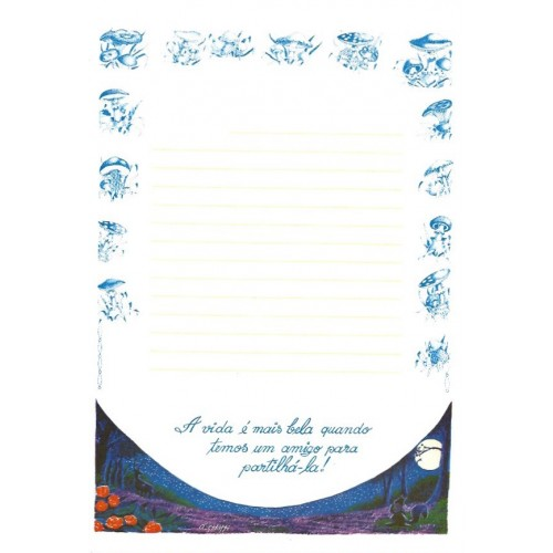 Papel de Carta ANTIGO Altair Gelatti Borda Cogumelos 03