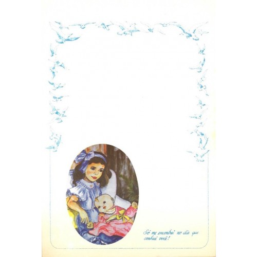 Papel de Carta ANTIGO Altair Gelatti Borda Pássaros 03