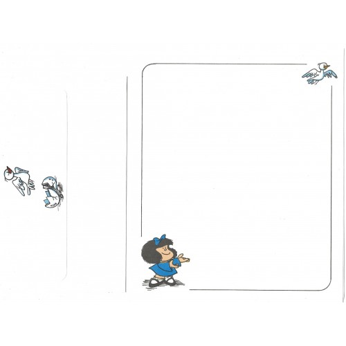 Conjunto de Papel de Carta ANTIGO Mafalda Pássaro