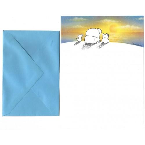Conjunto de Papel de Carta Antigo Importado Ziggy Sunset