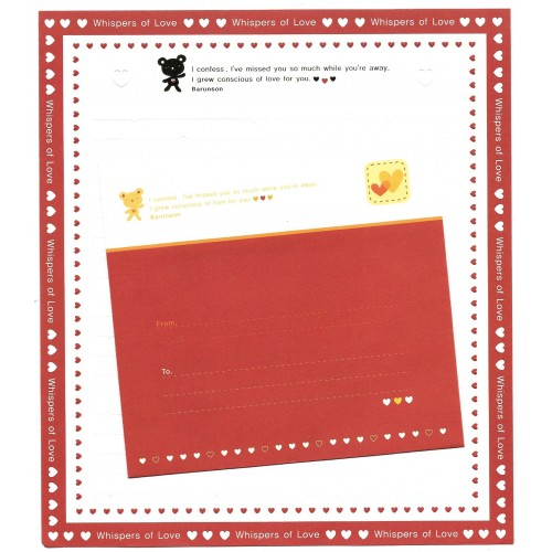 Conjunto de Papel de Carta Importado Whispers of Love Barunson
