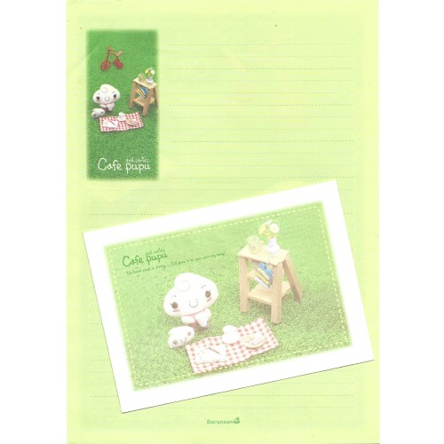 Conjunto de Papel de Carta Importado Cafe Pupu Doll Series VD Barunson
