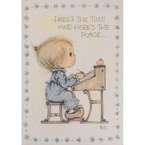Cartão ANTIGO Importado Betsey Clark Time & Place