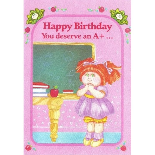 Ano 1983. Notecard Importado Cabbage Patch Kids Happy Birthday A+