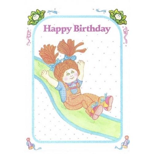 Ano 1983. Notecard Importado Cabbage Patch Kids Happy Birthday