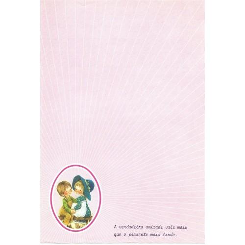 Papel de Carta Antigo ROSA 3 COM FRASE