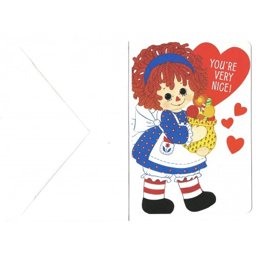 Ano 1976. Notecard Importado Raggedy Ann Valentines 1 Hallmark