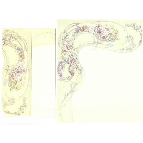 Conjunto de Papel de Carta Antigo Importado Flowers Hmk