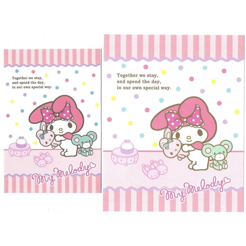 Ano 2015. Conjunto de Papel de Carta My Melody Together Sanrio