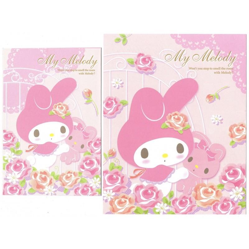 Ano 2017. Conjunto de Papel de Carta My Melody Roses Sanrio