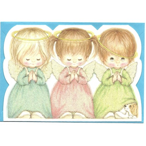 Notecard Antigo Importado Ruth Morehead Angels Glitter Hallmark