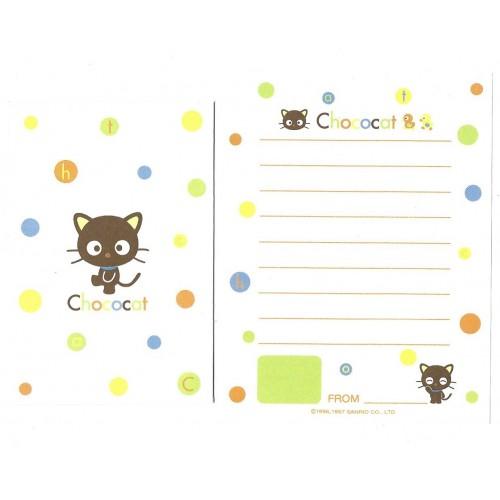 Ano 1997. Conjunto de Mini-Papel de Carta Chococat Green Sanrio
