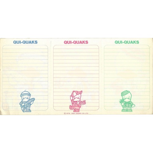 Ano 1984. Papel de Carta AVULSO Qui-Quaks Vintage Sanrio