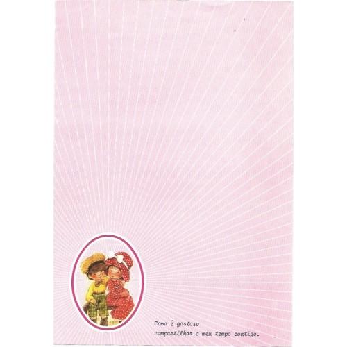 Papel de Carta Antigo ROSA 7 COM FRASE