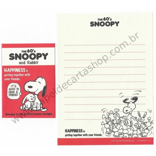 Kit 2 Conjuntos Mini Papel de Carta The 60's Snoopy and Rabbit