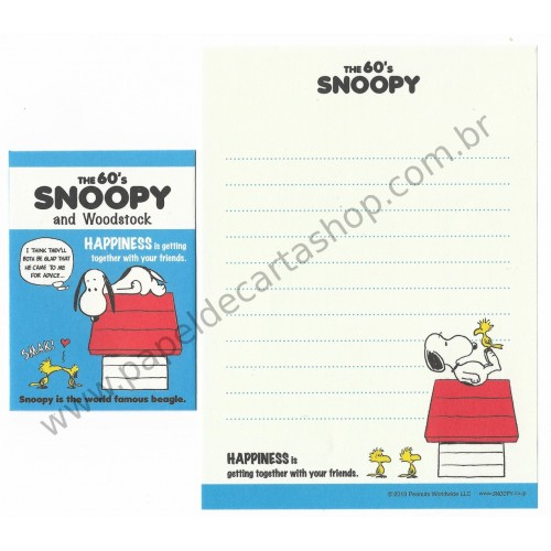 Kit 2 Conjuntos Mini Papel de Carta The 60's Snoopy and Woodstock